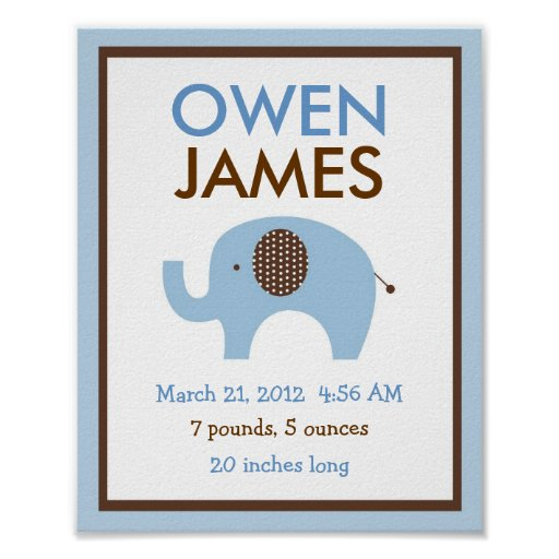 Mod Blue Elephant Nursery Wall Art Birth Print