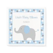 Mod Blue Elephant Paper Napkin