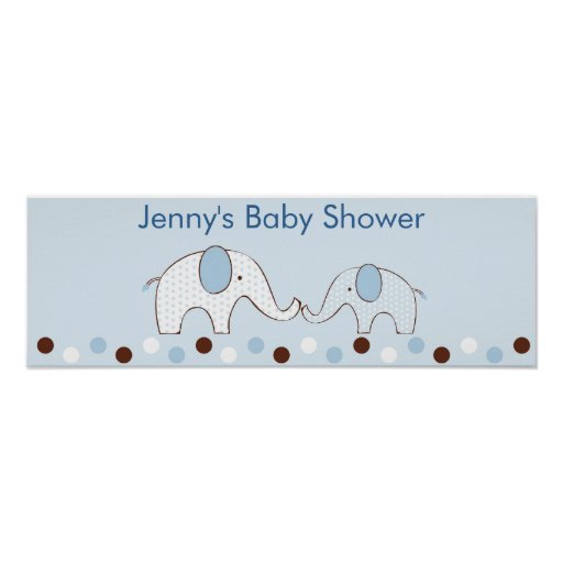 Mod Blue Elephant Personalized Baby Shower Banner Poster