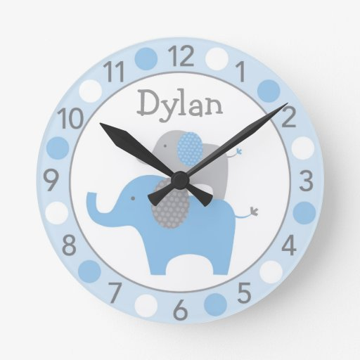 Mod Blue Elephant Personalized Nursery Wall Clock