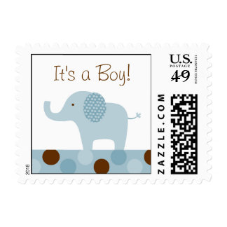Mod Blue Elephant Personalized Postage Stamps