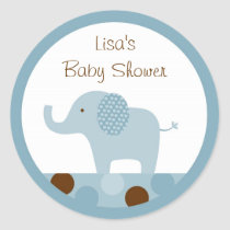 Mod Blue Elephant Stickers Cupcake Toppers