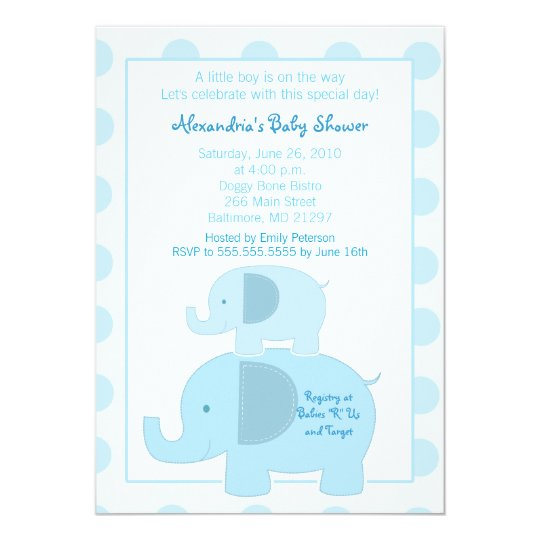 Mod Blue Elephants 5x7 Baby Shower invitation