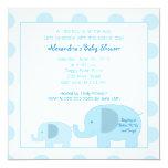 Mod Blue Elephants Square Baby Shower invitation