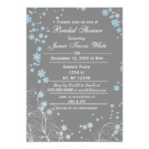 Mod Blue Gray Winter Bridal shower invite