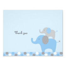Mod Blue Grey Elephant Flat Thank You Note Cards