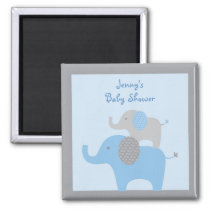 Mod Blue Grey Elephant Party Favor Magnets