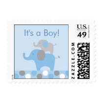 Mod Blue Grey Elephant Personalized Postage Stamps