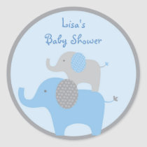 Mod Blue Grey Elephant Stickers Cupcake Toppers
