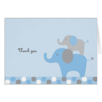 Mod Blue Grey Elephant Thank You Note Cards
