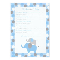 Mod Blue Grey Elephant Wishes for Baby Advice Card