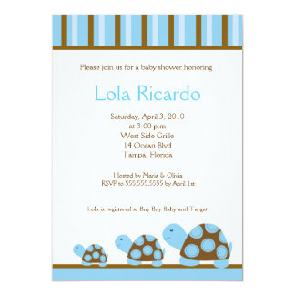 Mod Blue Turtles Striped Baby Shower invite 5 x 7