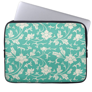 Mod Bold Turquoise Flowers Floral Laptop Sleeve