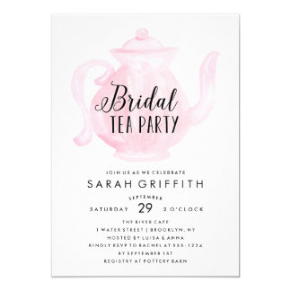 Mod Bridal Shower Tea Party Pink Invitation