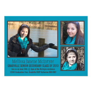 Mod Bright Blue Gray Three Photo Graduation Personalized Announcements