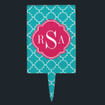 """Mod Bright Blue Trellis Pink Monogram Cake Topper<br><div class=""""desc"""">Chic,  modern,  trendy,  Moroccan tile inspired lattice pattern in bright blue and white features a bright pink customizable template for your own personalized monogram initial letters.   A cool,  thoughtful gift for girls or ladies that love mod patterns with a personal touch.</div>"""