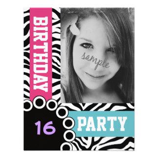 Mod Bright Zebra Print Birthday Party with Photo Personalized Invitation