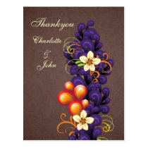 mod brown purple Thank You Cards