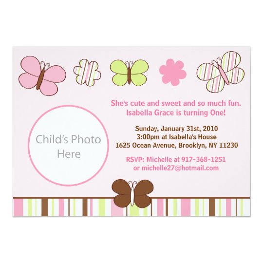 Mod Butterfly Stripes Photo Birthday Invitations