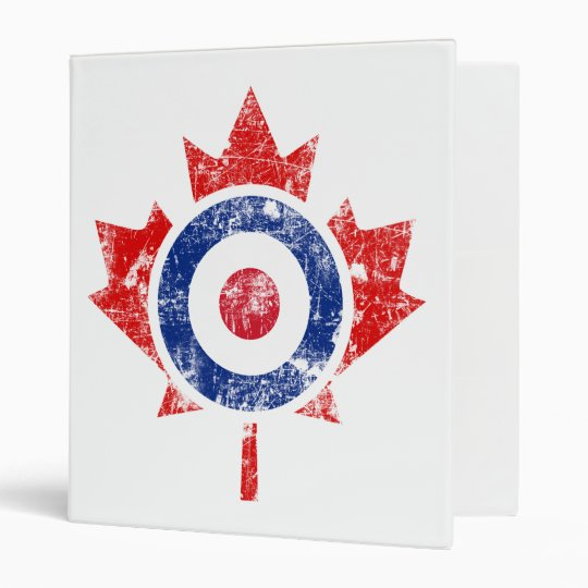 Mod Canada Curling Hockey Target Grunge Ice 3 Ring Binder