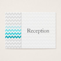 Mod chevron aqua Ombre Reception Cards