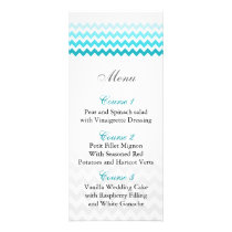 Mod chevron aqua Ombre wedding menu cards