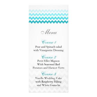 Mod chevron aqua Ombre wedding menu cards
