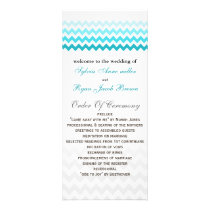 Mod chevron aqua Ombre Wedding program