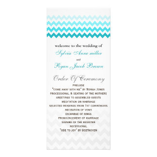 Mod chevron aqua Ombre Wedding program