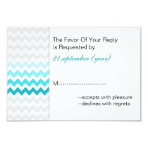 Mod chevron aqua Ombre wedding rsvp 3.5 x 5 Card