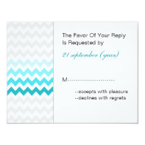 Mod chevron aqua Ombre wedding rsvp Card