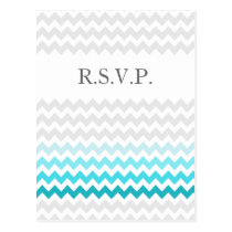 Mod chevron aqua Ombre wedding rsvp Postcard