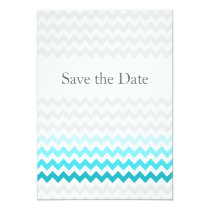 Mod chevron aqua Ombre wedding save the date Card