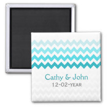 Mod chevron aqua Ombre wedding save the date Magnet