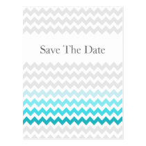 Mod chevron aqua Ombre wedding save the date Postcard