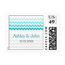 Mod chevron aqua Ombre wedding stamps