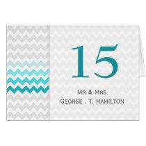 Mod chevron aqua Ombre wedding table numbers Card