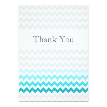 Mod chevron aqua Ombre wedding Thank You Card