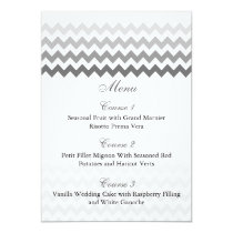 Mod chevron gray  Ombre wedding menu cards
