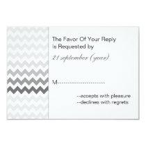Mod chevron gray  Ombre wedding rsvp 3.5 x 5 Card