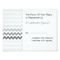 Mod chevron gray  Ombre wedding rsvp Card