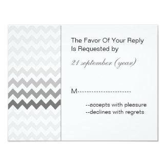 Mod chevron gray  Ombre wedding rsvp Card