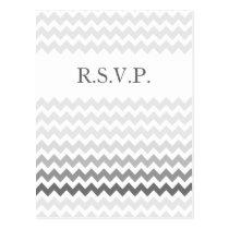 Mod chevron gray  Ombre wedding rsvp Postcard