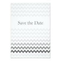 Mod chevron gray  Ombre wedding save the date Card