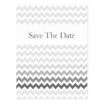 Mod chevron gray  Ombre wedding save the date Postcard