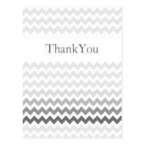 Mod chevron gray ombre wedding Thank You Postcard