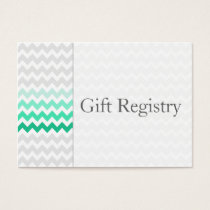 Mod chevron mint green Ombre Gift Registry Cards