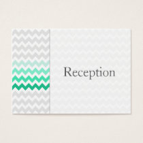 Mod chevron mint green Ombre Reception Cards