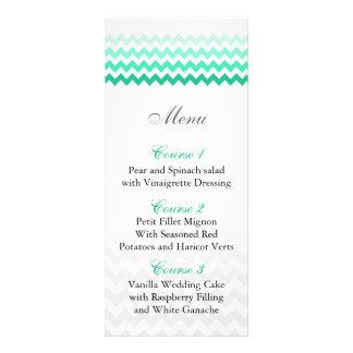 Mod chevron mint green Ombre wedding menu cards