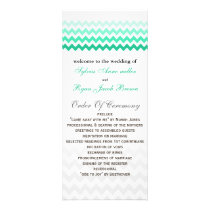 Mod chevron mint green Ombre Wedding program